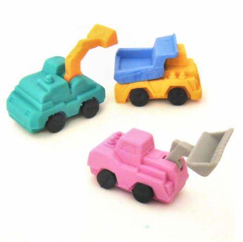 12 x Construction Vehicles 3D Novelty Rubbers (Sets of 3) Wholesale Bulk Buy